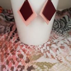 Diamond Two Tone Leather Earrings