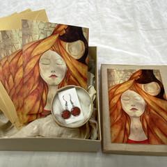 'Caffeine Dreams' Original Artwork card & earring set in a gift box