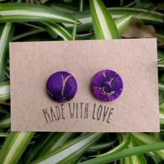 Purple Fabric Studs 19mm