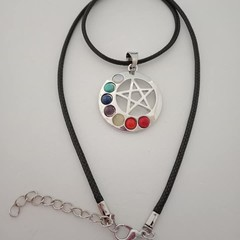 Silver natural stone pentagram / healing / mediation charm necklace
