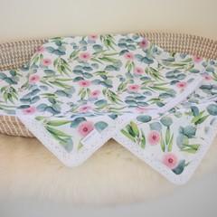 Cotton vintage lace baby keepsake blanket - Gum Blossoms