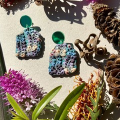 Polymer clay earrings - statement earrings Native Vines