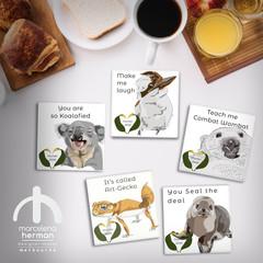 Customisable - Ceramic coaster - Australian Animals  - Teacher's Gift   Souvenir