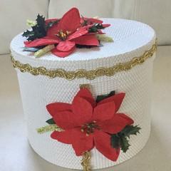Christmas Decorated Pointsettia White Hat Box