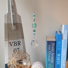 Sea Spray Suncatcher + Gift Bag - Lead crystal & glass - aqua, teal & blue