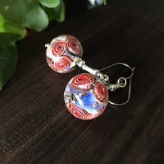 Lampwork Glass Earrings Beads Roses