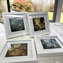 'Chakra Alignment Series' Set of 4 digital prints in white frames