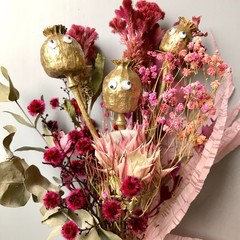 """Mary Poppies"" Dried flowers bouquet - Natural - Poppies  - Gold & pink"