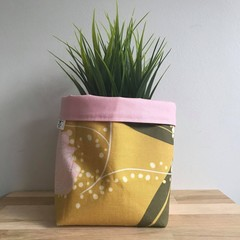 Small fabric planter | Storage basket | Pot cover | MUSTARD FLORAL