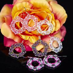 Flower earrings/Long earrings for women/Pretty beaded jewelry for women/