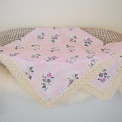 Cotton vintage lace baby keepsake blanket - Pink Floral