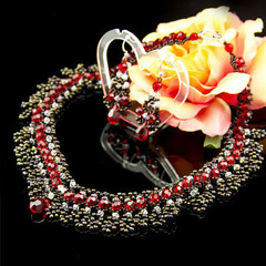 Necklace/Red statement necklace/Wedding necklace/Burgundy jewelry/