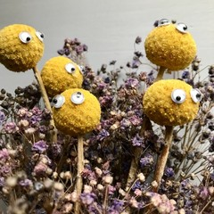 """""""Billy"""" Dried flowers bouquet - Natural - Billy buttons  - Yellow & purple"""