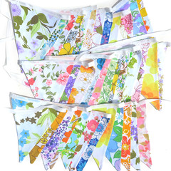 Vintage Retro Flower Power 'Multi-Colour Garden Party' Floral Flag Bunting x 3
