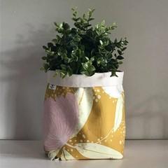 Large fabric planter | Storage basket | Pot cover | MUSTARD FLORAL