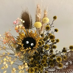 """""""Sunny Flowers"""" Dried flowers bouquet - Natural - Sunflower,  wheat - Yellow"""