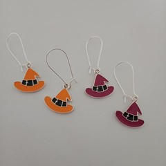 Silver enamel orange and purple witches' hats Halloween earrings