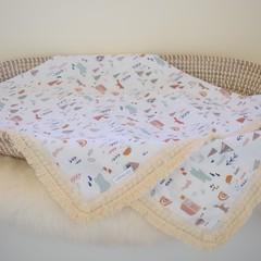 """Cotton vintage tassel baby keepsake blanket - """"Into the Wilderness"""""""