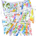 Vintage Retro Flower Power 'Multi-Colour Garden Party' Floral Flag Bunting x 3