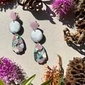 Polymer clay earrings - statement earrings Triple Drops