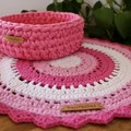 Lola Tri-colour Modern Crochet Round -Perfectly pink - bedroom, side table, desk