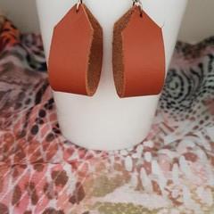 Tan Leather Hoop Earrings