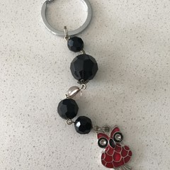 1x Keyring key ring Or bag ID with owl christmas gift