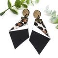 Black and white leather earrings with Leopard print Leather feature