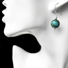 Chrysocolla earrings, natural green gemstone, Sterling silver