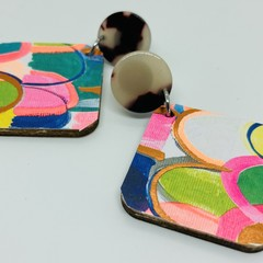 Vibrant abstract colors with gold accent earrings