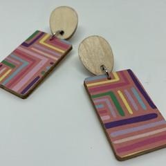 Rectangle maze print earrings