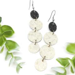 Vanilla and Charcoal Terazzo Vinyl earrings