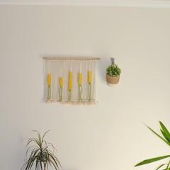 Yellow Large Macrame Wall Hanging, Macrame Wall Hanging, Boho Wall Hanging, Tape