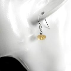 Citrine sterling earrings, minimalist yellow gemstone