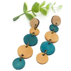 Teal droplet Leather earrings
