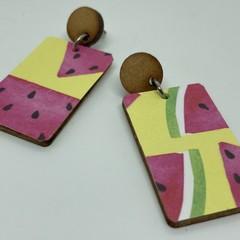 Rectangle watermelon print earrings