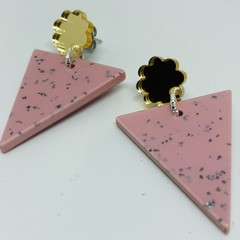 Pink speckled triangle earrings