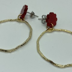 Red glitter with irregular shape alloy circle earrings