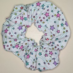 White with Coloured Stars Scrunchy