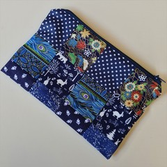 Blue Medium Zippered Bag