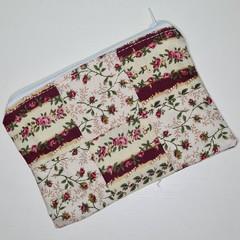 Maroon & Cream Rose Small Zippered Bag