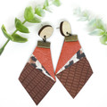Orange leather earrings with Leopard print Leather and Brown leather