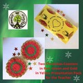 Two Christmas Coasters for the Teacher in Yellow Presentation Pack