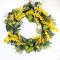 Australian Native Flower Golden Wattle Wreath - Christmas Wreath (35 cms wide)