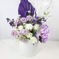 Purple & White Artificial Flower Arrangement with Palm - Christmas Gift
