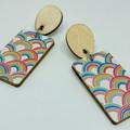 Rectangle rainbow print earrings