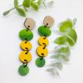 Yellow Sunflower drop Leather earrings