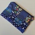 Blue Medium Zippered Bag