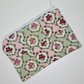 Pink & Green Striped with Flowers Small Zippered Bag