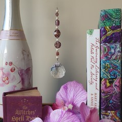 Orchid Daydream Suncatcher + Gift Bag - Lead crystal&glass, mauve, purple & wine